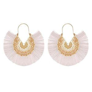 3/$20 New Gold & White Fringe Retro Fan Earrings
